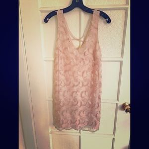 ASTR light pink and gold dress